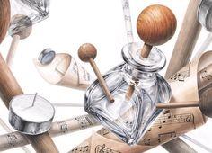 기초디자인 Bottle Drawing, Sketch Painting, Realism Art, Pattern Illustration, Painting Patterns, Copic, Art Reference, Design Art, Perfume Bottles