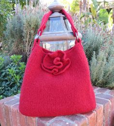 Red Rose Felted Tote Pattern Felted Bag by TheKnittingCloset, $5.00