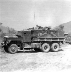 """Black Widow 5-Ton Gun Truck as it was seen in use in Vietnam. Over 560 GunTruck names have been documented by author James Lyles in his latest book, """"Have Guns - Will Travel"""" published 2012."""