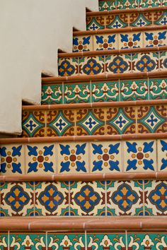 Photo about Colorful staircase featuring Mexican Talavera Tiles on a private home in Paradise Valley, Arizona. Image of estate, talavera, vertical - 22651299 Tiled Staircase, Tile Stairs, Staircase Design, Mexican Interior Design, Mexican Designs, Spanish Tile, Spanish Pattern, Spanish Colonial, Spanish Revival