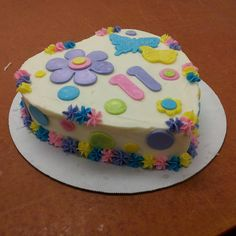 Girly Girl Multicolored 11 Year Old Birthday Cake