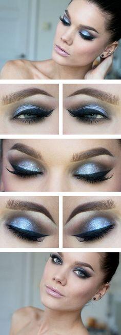 Light blue eye makeup