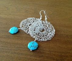Silver crochet wire earrings with turquoise beads.Handmade  wire crochet dangle…