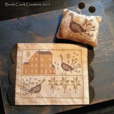 "Primitive Thanksgiving ""Turkey Trot"" Cross Stitch Mat Punch Needle Pin Keep Set | eBay"