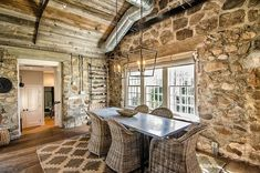 Love the exposed brick and ceiling~ Redding Cottage and Barn by Blansfield Builders