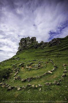 A rock spiral at Castle Ewen in Fairy Glen, Uig, Isle of Skye, Scotland.