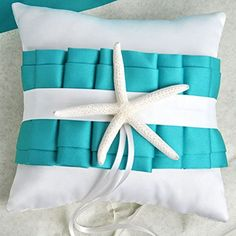 AllHeartDesires Turquoise White Starfish Satin Ring Pillow Beach Themed Wedding Favor Bridal Shower Party Decoration #beachthemedweddings