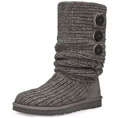 The versatile Cardy offers a multitude of styling options to complement any outfit. - Synthetic upper blend in grey - Knit upper features a suede heel guard for added durability - Two-button side clos