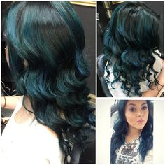 Deep real blue ombré #ombre #teal #blue #blayage Instagram @_cassy_c__
