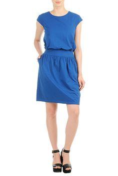 I <3 this Blouson cotton knit dress from eShakti