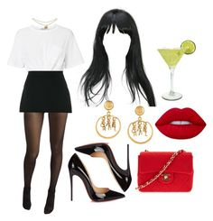 """""""14:50 pm"""" by georgia78 ❤ liked on Polyvore featuring T By Alexander Wang, Wolford, Givenchy, Lime Crime, Chanel, Margarita and Christian Louboutin"""