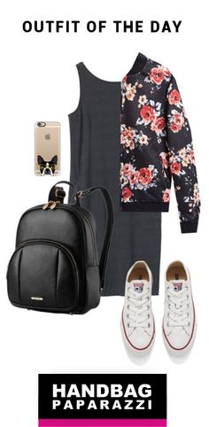 OUTFIT OF THE DAY -  casual grey dress, floral bomber jacket, white sneakers, and black backpack #OOTD #spring #summer