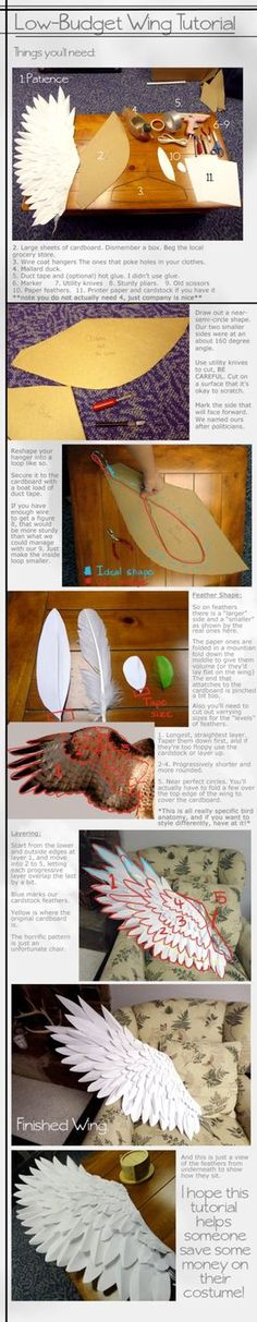 Tutorial by le-shae on DeviantArt. Wings out of paper, cardboard, and wire. Cost-efficient way of making all 5? 6? pairs of Airy's wings.