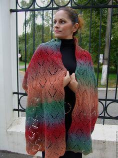 """Купить Шарф-палантин вязаный """"Сирин"""" из эко-шерсти - шарф вязаный женский, шарф зимний"""