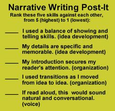 narrative checklist post-it- this seems like a good start to a rubric actually (though that would mean not ranking skills against each other) I loved using rubrics to grade papers or projects! Best way to show any kid or parent why a certain grade was given. Makes a subjective practice of writing or project a measurable activity with a grade :-) love it!