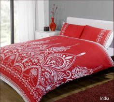 Duvet Cover Set India Red and White, Double Bed King Size Duvet Covers, Buy Bed, Red Bedding, Duvet, Bed, Duvet Cover Sets, Duvet Covers, Beds For Sale, Bed Linen Sets