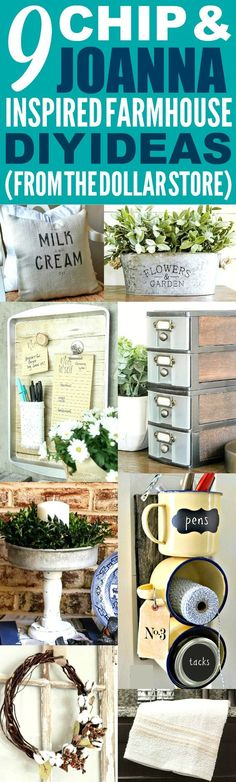 These 9 dollar store farmhouse decor ideas are THE BEST! I'm so happy I found these AWESOME fixer upper ideas! Now I have some great ways to make my home look like Chip and Joanna Gaines' farmhouse style! // DIY Home Decor // DIY Dollar Store Home Decor Farmhouse Style Decorating, Farmhouse Chic, Farmhouse Design, Farmhouse Ideas, Country Farmhouse, Farmhouse Furniture, Kitchen Country, Farmhouse Windows, Farmhouse Nashville