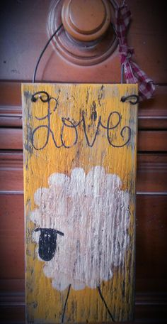 Primitive+Sheep+painted+on+a+pallet+board.+by+FamiliesStick2Gether,+$8.00