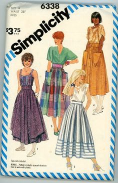 Simplicity 6338 / Misses' Skirts in Two Lengths by scissorina, $10.00
