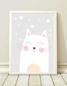 Prints & Posters - Poster Kids Room, Picture, Poster, Kitten - a unique product by black-dot- Baby Room Art, Kids Room Art, Baby Art, Art Wall Kids, Baby Room Decor, Art For Kids, Nursery Wall Decals, Nursery Prints, Nursery Art