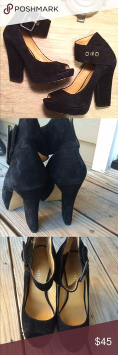 """NINE WEST Platforms ☄ NINE WEST Suede Platform Pumps in Black. 4.5"""" heel. Easy to walk in, new condition. Open toe. No marks or scratches. Kept in a smoke-free space. Nine West Shoes Platforms"""