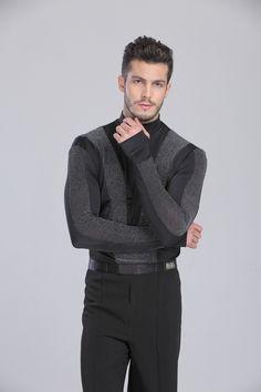 Men Party Ballroom Latin Tango Dress Shirt Rhythm Competition Practice Dance Top