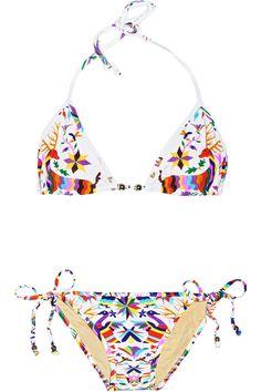 Mara Hoffman|Techno Animal printed triangle bikini|NET-A-PORTER.COM