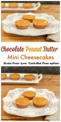 Chocolate Peanut Butter Mini Cheesecakes- grain free, no bake, low carb, with nut free, peanut free option.