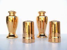 Vintage Gold Glazed Porcelain Salt and Pepper by AstrasShadow