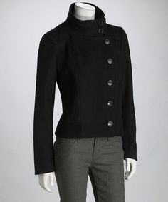 Take a look at this Black Military Wool-Blend Coat on zulily today!