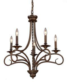 "0-073384>24""""w Gloucester 5-Light Chandelier Antique Bronze with Transparent Glass"