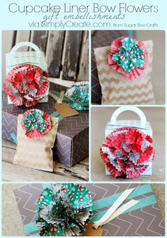 learn how to make Bow Flowers from   Cupcake Liners - love these!