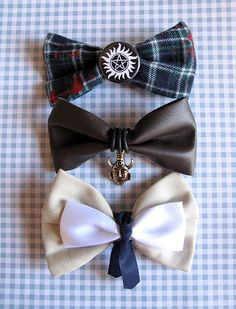Sam,Dean and Castiel bows I NEED THESE!!!!!! Though I think the Dean bow should be that olive green color or whatever of that jacket he wears all the time.