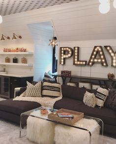 Every inch of this space is filled with form, function and whimsy! The black and white… Room Design Teen Hangout Teen Lounge Rooms, Teen Game Rooms, Teen Hangout Room, Teen Playroom, Attic Playroom, Teen Basement, Modern Basement, Basement Kitchen, Basement Ideas