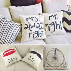 Caliente venta nuevo estampado parejas volver cojin cubierta almohada estuche de la cintura almohada algodón decoración en sofá cama coche