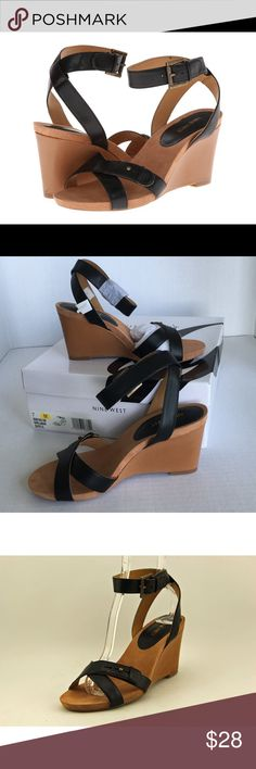 """NEW!! Black Nine West Wedgies w/Ankle Straps Sz. 7 Brand new, never worn still in original box! Nine West's 'Ellianna' black leather strappy sandals with 3.5"""" wedge heel. Adjustable buckling straps make these easy to wear and look great!! U.S. Women's Size 7 --- Nine West quality, style and sex appeal! Nine West Shoes Sandals"""