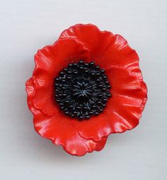 Bright Synthetic Realistic Red Poppy Button by baublesbuttons
