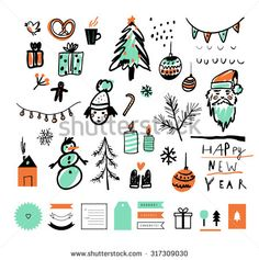 Hand drawn sketch. Merry Christmas and Happy New Year set. Decorative elements. Vector illustration. Isolated. RGB. Gradients free. Elements are grouped separately