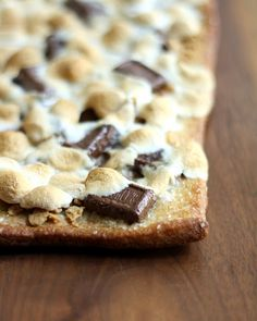 s'mores pizza, I think you could make this with store bought pizza dough in a tube.