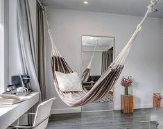 Even a hammock can appear fashionable, if it's made from a trendy printed fabric. A hammock may also be a mere decoration. Modern-day hammocks are the result of the evolution in design and are now based on the construction of… Continue Reading → Indoor Hammock Bed, Diy Hammock, Indoor Swing, Hanging Hammock, Hammock Ideas, Hammocks, Hanging Chairs, Hammock Swing, Living Room Hammock
