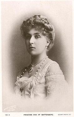 Princess Victoria Eugenie of Battenberg (1887--1969), 2nd child and only daughter of Princess Beatrice of Battenberg (nee Great Britain and Ireland, Queen Victoria's youngest child).  Victoria Eugenie, nicknamed Ena, married King Alfonso XIII of Spain and is the paternal grandmother of Juan Carlos I, current King of Spain.