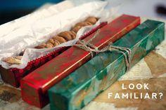 Donar caixes de paper d'alumini un canvi d'imatge i utilitzar-los per regalar o l'emmagatzematge de cookies.   27 Clever Ways To Use Everyday Stuff In The Kitchen