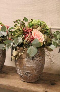 rose, hydrangea, eucalyptus, pepper berries, leaves