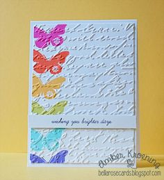 Fantastic Bright Butterflies Card...using a butterfly stamp in various colors...Amber Kroening: Bella Rose Cards.
