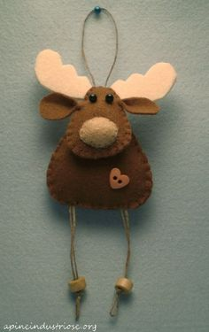 alce natalizio da appendere all'albero - felt moose christmas ornament