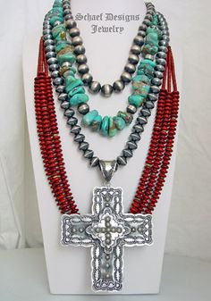 Schaef Designs Red Jasper Turquoise Nugget & Sterling silver southwestern necklace pairing | New Mexico