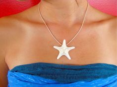 """Reserved Listing for Maria Matthai -- 4 CARLY Starfish Pendants White with 17"""" Sterling Silver Plated Adjustable Snake Chain"""