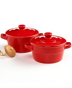 Martha Stewart Collection Covered Cocottes, Set of 2 - Cookware - Kitchen - Macy's Martha Stewart Kitchen, Live In Style, Santas Workshop, Red Kitchen, Kitchen Collection, Holiday Wishes, Color Stories, Kitchen Essentials, Cool Tools