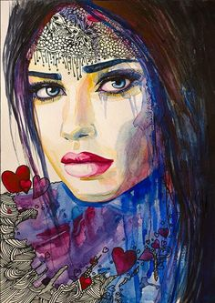 I love you watercolor painting print Woman by SlaviART Art Watercolor, Watercolor Portraits, Art Sketches, Art Drawings, Painting & Drawing, Painting Prints, Arte Pop, Portrait Art, Face Art