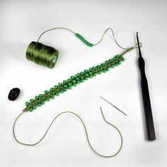Turkish Flat Bead Crochet Bracelet Tutorial with C-Lon Tex 400 Bead Cord